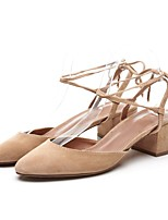 cheap -Women's Shoes Suede Summer Basic Pump Heels Chunky Heel Black / Pink / Almond