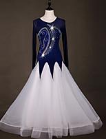 preiswerte -Für den Ballsaal Kleider Damen Leistung Elasthan / Organza Horizontal gerüscht / Kombination / Kristalle / Strass Langarm Kleid