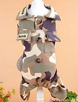 baratos -Cachorros Macacão Roupas para Cães camuflagem Cor camuflagem Poliéster Ocasiões Especiais Para animais de estimação Masculino Esporte & lazer