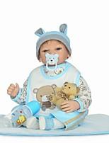 Недорогие -NPKCOLLECTION Куклы реборн Мальчики 24 дюймовый как живой, Ручные прикладные ресницы, Искусственные имплантации Голубые глаза Детские Мальчики Подарок / Естественный тон кожи / Головка дискеты