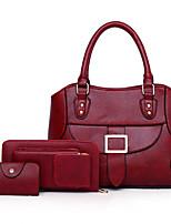 cheap -Women's Bags PU(Polyurethane) Bag Set 3 Pcs Purse Set Solid Red / Blushing Pink / Brown