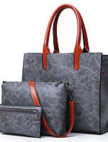cheap -Women's Bags PU(Polyurethane) Bag Set 3 Pcs Purse Set Zipper Red / Gray / Brown
