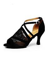 abordables -Mujer Zapatos de Baile Latino Encaje Zapatilla Talón grueso Zapatos de baile Negro / Cuero / Entrenamiento
