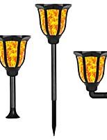 abordables -1pc 1 W Luz de grama / Luz de pared solar Nuevo diseño / Solar / Impermeable Amarillo cálido 3.7 V Iluminación Exterior / Patio / Jardín