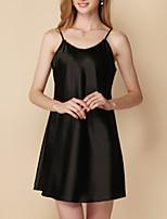 abordables -Col en U Chemises & Blouses Pyjamas Femme Couleur Pleine