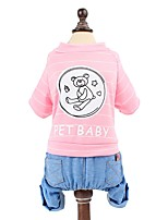 cheap -Dogs / Rabbits / Cats Sweatshirt Dog Clothes Spots & Checks / Character / Letter & Number Gray / Red / Pink Cotton Costume For Pets Female Sports & Outdoors / High Quality