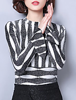 cheap -women's going out blouse - striped crew neck