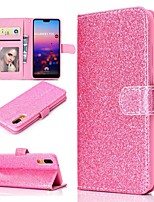 cheap -Case For Huawei P20 / P20 lite Wallet / Card Holder / with Stand Full Body Cases Solid Colored / Glitter Shine Hard PU Leather for Huawei P20 / Huawei P20 lite / P10 Lite