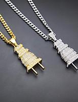 cheap -Men's Cubic Zirconia Cuban Link / Thick Chain Pendant Necklace - Plug European, Fashion, Hip-Hop Gold, Silver 70 cm Necklace 1pc For Masquerade, Street