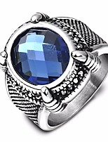 cheap -Men's Synthetic Aquamarine Solitaire Band Ring - Titanium Steel, Stainless Creative Stylish, Unique Design, Vintage 7 / 8 / 9 Blue For Birthday / Gift