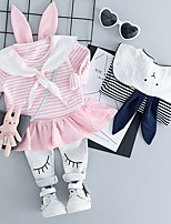 Недорогие -малыш Девочки Полоски Длинный рукав Набор одежды