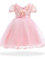 Недорогие -Дети Девочки Однотонный С короткими рукавами Платье