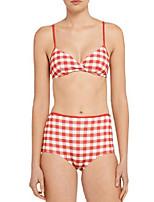 abordables -Femme A Bretelles Bikinis Damier Slips
