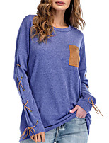 cheap -Women's T-shirt - Solid Colored Lace up / Patchwork