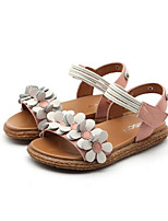 cheap -Girls' Shoes Cowhide Summer Comfort Sandals Flower for Kids White / Red / Pink