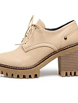 abordables -Femme Chaussures Polyuréthane Hiver Confort / Escarpin Basique Chaussures à Talons Marche Talon Bottier Bout rond Noir / Beige / Jaune