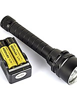 cheap -LED Flashlights / Torch LED 9000 lm 1 Mode Waterproof / Portable / Professional Camping / Hiking / Caving / Diving / Boating / Cycling / Bike