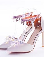abordables -Femme Chaussures Polyuréthane Automne hiver D'Orsay & Deux Pièces Chaussures de mariage Talon Aiguille Bout pointu Strass / Cristal / Boucle Blanc / Mariage / Soirée & Evénement