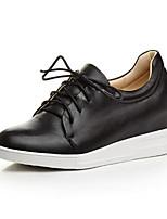 economico -Per donna Scarpe Nappa Primavera estate Comoda Sneakers Zeppa Punta tonda Bianco / Nero