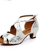 baratos -Mulheres Sapatos de Dança Latina Couro Ecológico Salto Salto Alto Magro Sapatos de Dança Prata