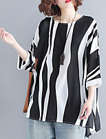 cheap -women's linen t-shirt - striped / solid colored round neck