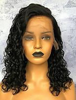 baratos -Cabelo Remy Frente de Malha Peruca Cabelo Brasileiro Encaracolado Peruca 150% Com Baby Hair / Riscas Naturais / Peruca Afro Americanas Mulheres Curto Perucas de Cabelo Natural