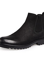 cheap -Men's Moccasin Nappa Leather Fall & Winter Boots Booties / Ankle Boots Black