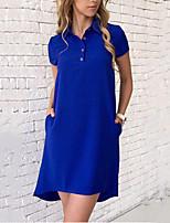 preiswerte -Damen Grundlegend Hemd Kleid - Mehrschichtig, Solide Mini