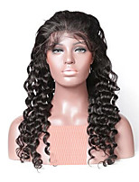 cheap -Remy Human Hair Full Lace Wig Brazilian Hair Wavy Wig 130% Natural Hairline / With Bleached Knots Women's Long Human Hair Lace Wig