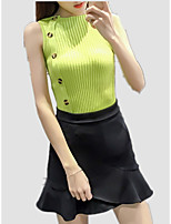 cheap -Women's Tank Top - Solid Colored / Striped Patchwork