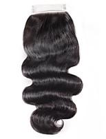Недорогие -Естественные кудри 4x4 Закрытие Волнистый Бесплатный Часть Швейцарское кружево Натуральные волосы Лучшее качество На каждый день / Повседневные
