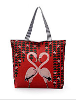cheap -Women's Bags Canvas Tote Embroidery Red / Dark Blue / Khaki