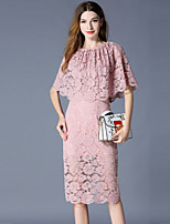 cheap -SHIHUATANG Women's Vintage / Elegant Sheath Dress - Solid Colored Lace