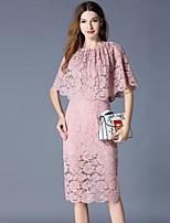 abordables -Mujer Vintage / Elegante Vaina Vestido - Encaje, Un Color Hasta la Rodilla