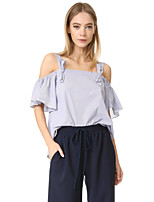 cheap -women's going out cotton shirt - solid colored strap