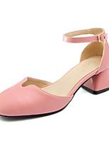 Недорогие -Жен. Обувь Полиуретан Лето Удобная обувь Обувь на каблуках На толстом каблуке Бежевый / Желтый / Розовый