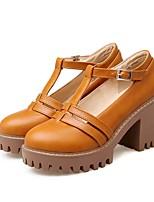 cheap -Women's Shoes PU(Polyurethane) Spring & Summer Comfort Heels Chunky Heel Beige / Gray / Yellow