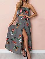 cheap -Women's Blouse - Striped / Floral Skirt
