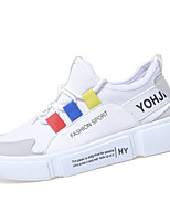 cheap -Women's Shoes PU(Polyurethane) Summer Comfort Sneakers Flat Heel Round Toe White / Red / Blue
