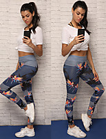 cheap -Women's Floral Style Yoga Pants - Blue Sports Tights / Leggings Running, Fitness Activewear Breathable, Soft, Compression Stretchy