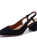 preiswerte -Damen Schuhe Schafspelz Frühling Sommer Komfort High Heels Blockabsatz Schwarz / Rot / Mandelfarben