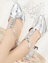 preiswerte -Damen Schuhe für modern Dance PU Absätze Starke Ferse Tanzschuhe Silber