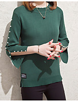 cheap -Women's Basic / Sophisticated Flare Sleeve Pullover - Solid Colored, Patchwork