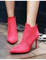 baratos -Mulheres Sapatos Couro Ecológico Outono & inverno Conforto / Botas da Moda Botas Salto Agulha Botas Curtas / Ankle Preto / Pêssego / Amêndoa