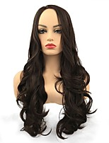 cheap -Synthetic Wig Curly Middle Part Synthetic Hair Synthetic Brown Wig Women's Long Capless Dark Brown / Dark Auburn