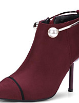 cheap -Women's Shoes Suede Spring &  Fall Bootie Boots Stiletto Heel Pointed Toe Booties / Ankle Boots Pearl Black / Burgundy / Party & Evening