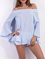cheap -Women's Cotton Shirt - Striped Print Boat Neck / Summer