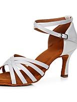 cheap -Women's Latin Shoes Satin Sandal / Heel Buckle Slim High Heel Customizable Dance Shoes White