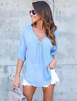 cheap -Women's Going out Blouse - Solid Colored V Neck