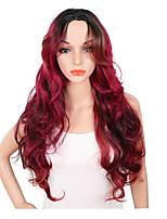 abordables -Pelucas sintéticas Ondulado Parte media Pelo sintético Ajustable / Resistente al Calor / sintético Rojo Peluca Mujer Larga Sin Tapa / Sí